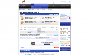 Southwest's 35% off THANKYOU promotion for 1/4/2013 bookings. Example of SFO to LAS on valid travel dates.