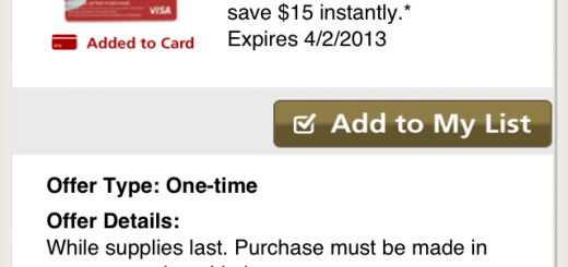 Screenshot of the Safeway mobile app with the offer page. (It will be under Coupon Center > Specials)