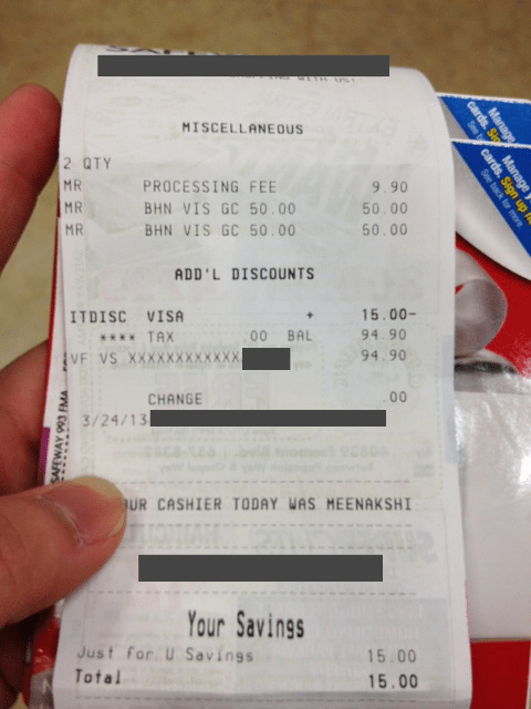 Received Wedding Gift Without Card : Receipt from my Safeway run with the buy any 2 USD50 Visa gift card deal ...