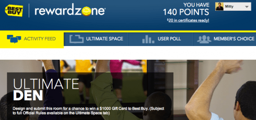 A screen shot of the April 2 through April 5, 2013 free points via the Best Buy Reward Zone Facebook App.